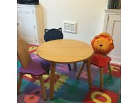 John Lewis toddler table and three wooden chiars