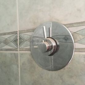 Shower mixer and pan head shower