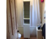 White Bathroom Cupboard with glass shelves