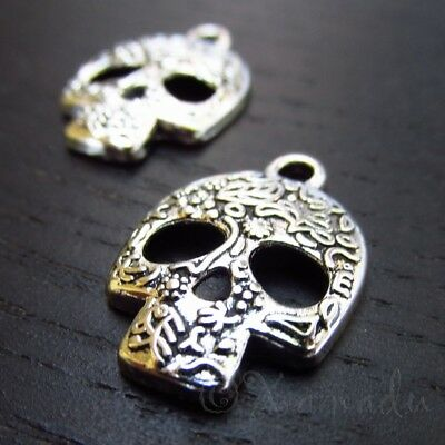 Sugar Skull Charms 24mm Day Of The Dead Calavera Pendants C3033- 10, 20 Or 50PCs - Skull Charms
