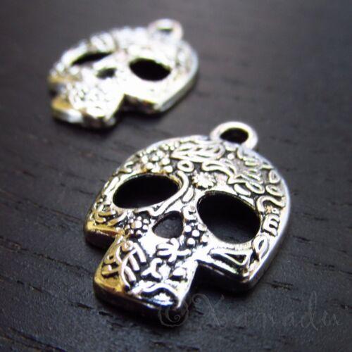 Sugar Skull Charms 24mm Day Of The Dead Calavera Pendants C3033- 10, 20 Or 50PCs