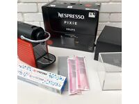 Nespresso Titanium Krups Coffee Machine in Red + Capsules + Storage Box + More..