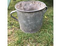 Vintage Galvanised Planter Plant Pot Tub Garden Feature