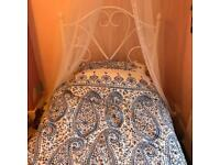 Brand New beautiful single white metal bed