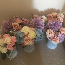 Wedding arifixal flowers with jugs x 6 and 4x churns