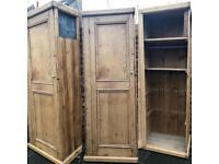 Antique Victorian pine cupboard wardrobe