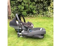 Maxi Cosi Pebble baby car seat carrier and Easy base 2 isofix / belt base for easy and safe fitting