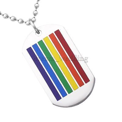 Edelstahl Hundemarke Regenbogen LGBT Lesben Gay Pride Anhänger Halskette ()