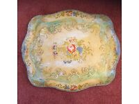 """Pretty Antique Tray - 17.5"""" x 15"""" approximately"""