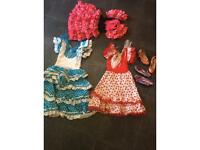 Fancy dress 3 Spanish dancer dresses with high heel shoes Halloween costumes