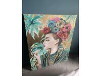 Large tropical 'flower lady' canvas art