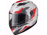 Brand New Ex Demonstration Agrius Rage Tracker Motorcycle Helmet M Matt Pearl White/Red Full Face