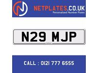 N29 MJP Initials Registration Number Private Plate Cherished Number Car Personalised Plate