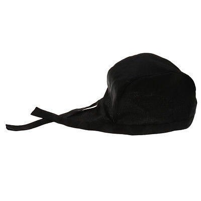 Chef Hat Adjustable Cooking Catering  Black Tied Caps