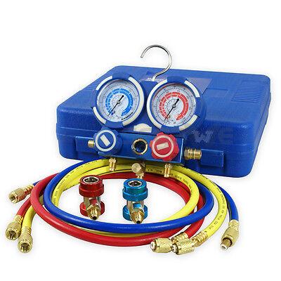 3 Way Manifold Vacuum Gauge Set R134a R410a R22 Ac Ac Hvac Refrigeration Kit