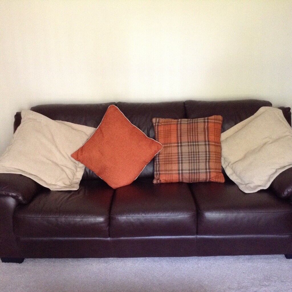Brown leather suite good bought at Beales Hexham. Very good condition. Buyer must collect