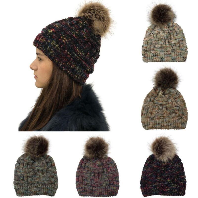 ew Women Kids Baby Mom Warm Winter Knit Beanie Fur Pom Pom Hat Crochet Ski Cap