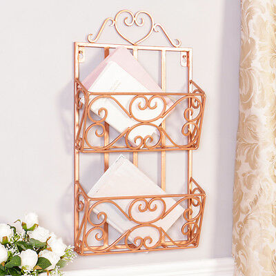 Rose Copper Wall Mounted Magazine Rack by Dibor