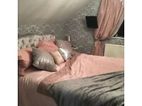 King size silver crushed velvet bed
