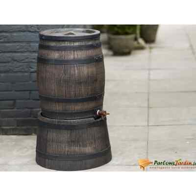 Nature Rain Butt With Wood Look 120L 50.5x66cm Brown Water Barrel Storage Tub