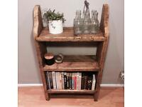 Rustic hand made solid wood bookcase, shelving, reclaimed materials