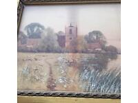 Antique. Water colour By f. G. Fraser Suffolk artist in gold frame .