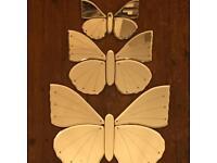 3 triple silver glass mirror butterflies