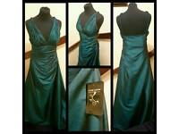 Stunning Clare Louise London UK Size 10-12 Petrol Evening Dress New With Tags