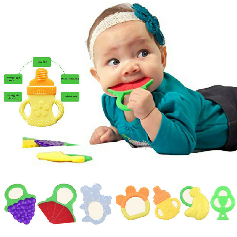 Toddlers Infants Baby Teething Toys Soft Silicone Fruit Shap