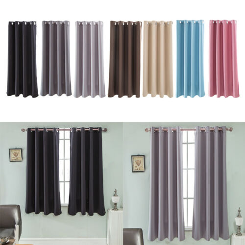 1 Panel Elegant Thermal Insulated Solid Grommet Blackout Cur