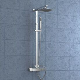 SQUARE THERMOSTATIC DUAL CONTROL MODERN RISER SLIDER SHOWER MIXER TAP HANDSET