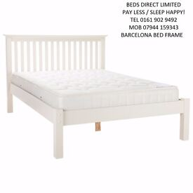 Barcelona Double Bed Frame in White. £150.00. Free Delivery.
