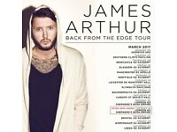 2x James Arthur standing tickets, O2 Sheffield Academy, Monday 29th May 2017