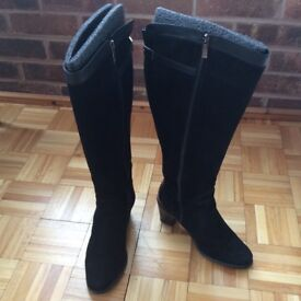 Ladies suede knee-high boots, wide calf fitting