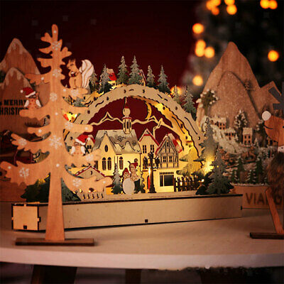 Mini Christmas LED Bridge Light and Music Village Farmhouse Xmas Table Decor