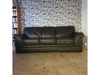 3&2 Seater Darl Brown Leather Sofas