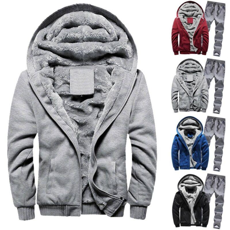 Men Winter Hoodie Warm Thicken Zipper Fur Inside Sweater Out