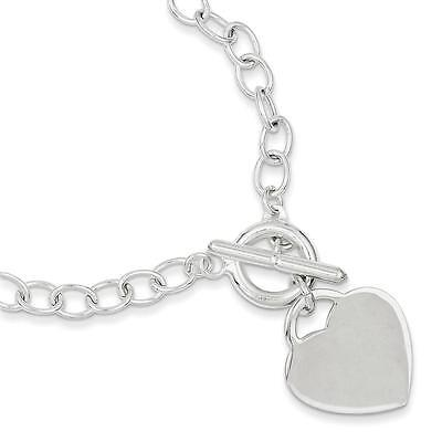925 Sterling Silver Polished 5mm Engravable Oval Link Heart Toggle Bracelet - Sterling Silver Polished Heart Link