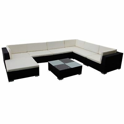 Outdoor 8PC Patio Sofa Set Sectional Furniture PE Wicker Rattan Deck Couch Black