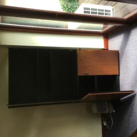 Walnut & Black Glass Cabinets - 2 available