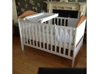 White cot/ cotbed with top changer