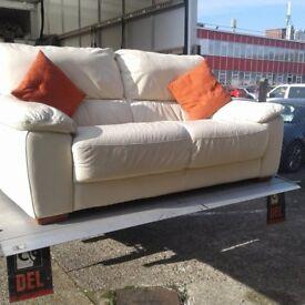 2 seater leather cream sofa