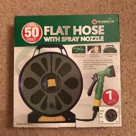 50ft Flat Hose with spray nozzle (new)