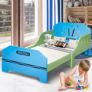 Crayon Themed Wood Kids Bed with Bed Rails for Toddlers and Children Colorful - BRAND NEW - FREE SHIPPING