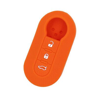 Perfeclan Silicone Car Key Cover Case for Fiat 3 Button Smart Key Fob Orange