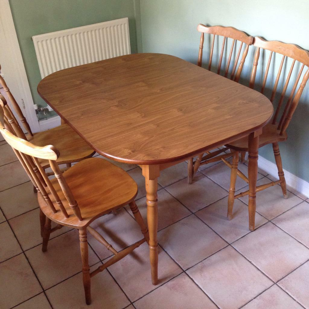 Bench Tables For Sale: Extendable Wooden Kitchen Table With Four Chairs For Sale