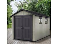 KETER OAKLAND 7511 (11ft long) Garden Shed, Only 6 months old, RRP £1000 from Costco