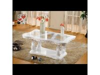 Pearl Coffee Table has a white finish. Part of the traditional collection