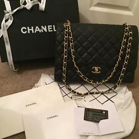 Genuine Chanel Large Classic Jumbo Maxi Double Flap Caviar Bag 2014 Gold Hardware