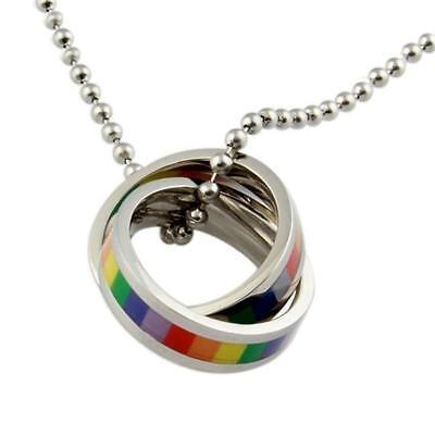 Arcoiris Anillos Collar Acero Inoxidable Lgbtq Orgullo Gay Lesbiana Boda Boda